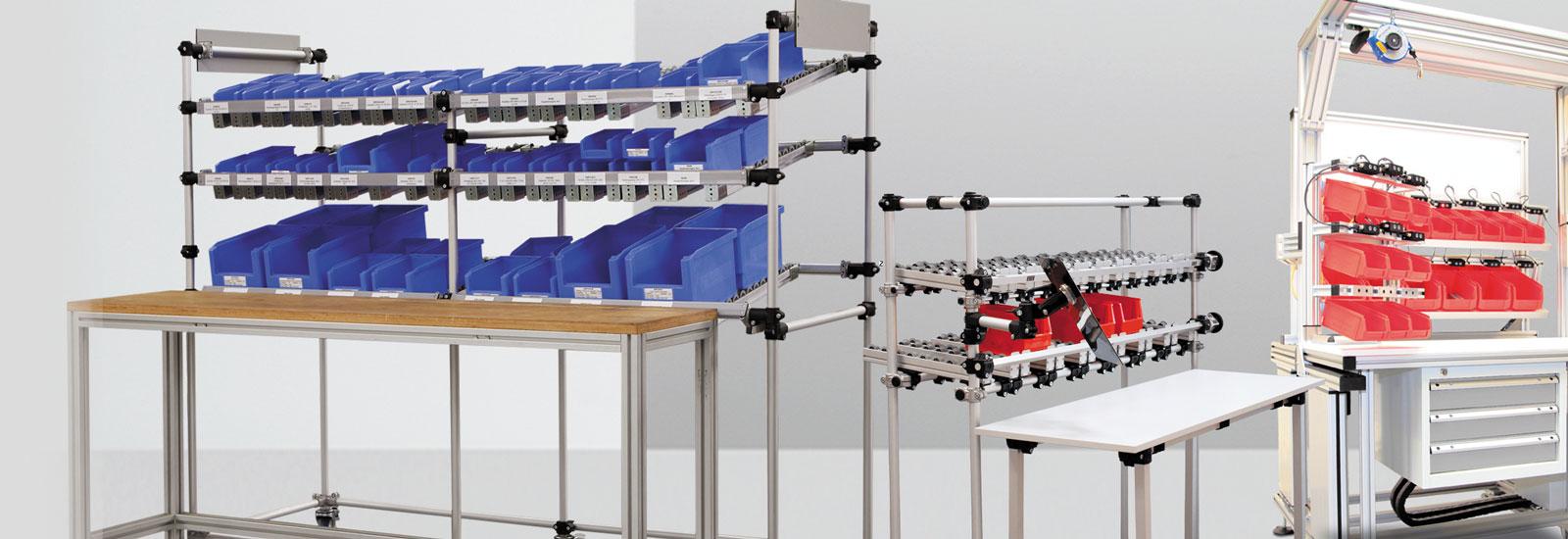 Material-/Transportwagen und Kanban-Systeme für die Materialversorgung und die Intralogistik