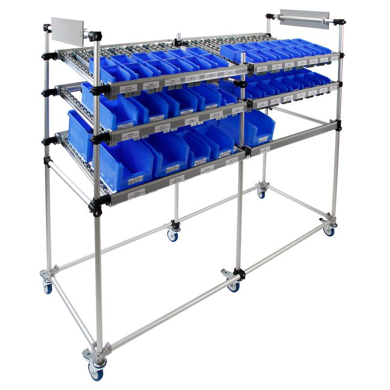 Equipment carts made of RK tube connectors guarantee optimum production supply