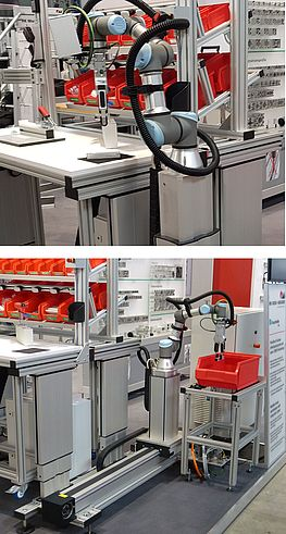 On modern workstation systems, cobots provide support with assembly, inspection and material supply